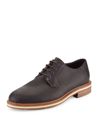 Woven Leather Derby Shoe, Brown