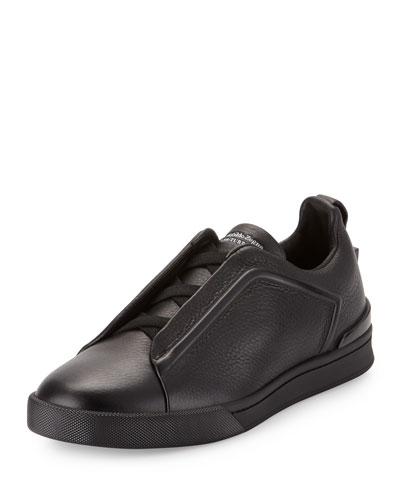 Grained Leather Slip-On Sneaker, Black