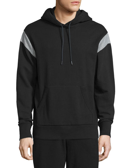 Rag & Bone Tobin Contrast-Shoulder Long-Sleeve Hoodie, Black