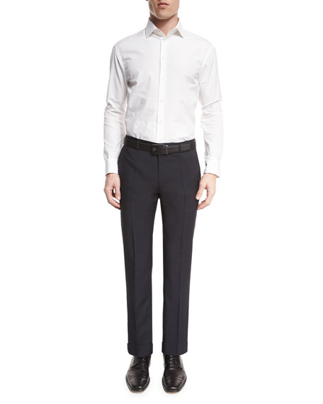 Genesis Flat-Front Slim Trousers, Navy