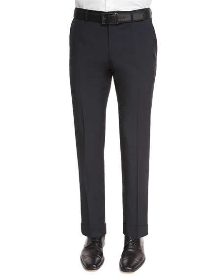 BOSS HUGO BOSS Genesis Flat-Front Slim Trousers, Navy