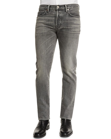 TOM FORD Straight-Fit Faded Wash Denim Jeans, Gray