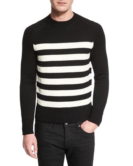 TOM FORDTextured-Stripe Ribbed Crewneck Sweater, Black/White