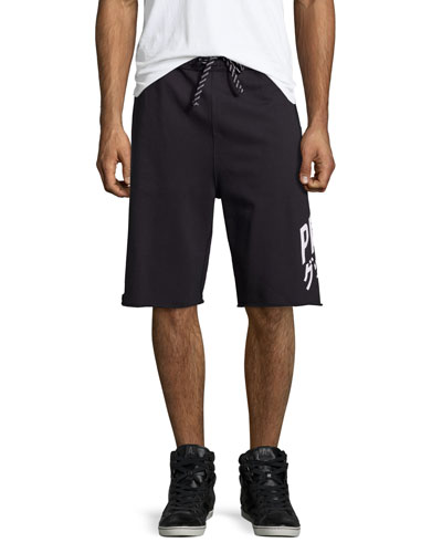 Fleece Cutoff Sweat Shorts, Black