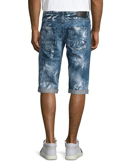 Distressed Slim-Fit Denim Shorts, Blue