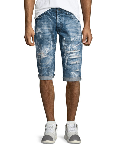 PRPS Distressed Slim-Fit Denim Shorts, Blue