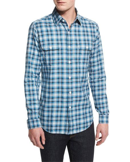 TOM FORD Washed Large-Plaid Twill Sport Shirt, Aqua