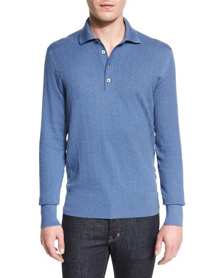 TOM FORD Textured-Rib Long-Sleeve Polo Shirt, Blue