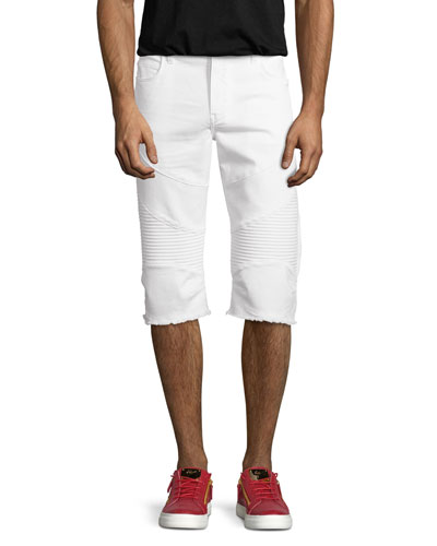 Rocco Active Slim-Fit Moto Shorts, White