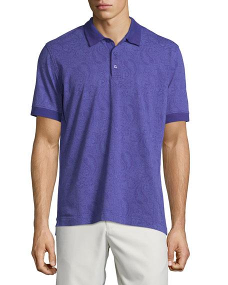 Robert Graham Paisley-Printed Short-Sleeve Polo Shirt, Purple