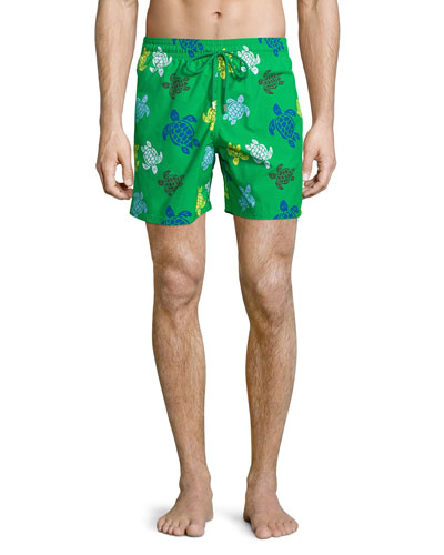 Moorea Turtle-Print Swim Trunks, Green