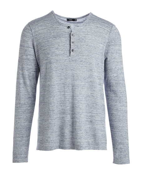 Sporty Jaspe Long-Sleeve Mix Stitch Henley, Heathered Herring