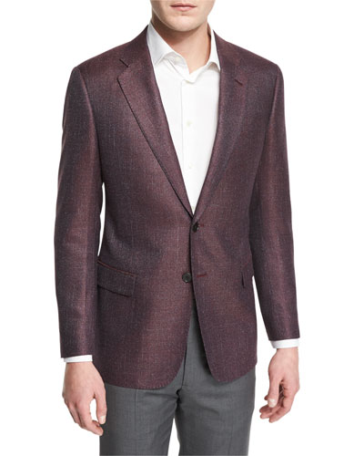 G-Line Textured Wool-Blend Sport Jacket, Red