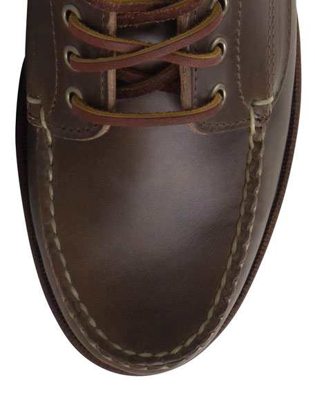 Image 3 of 3: Falmouth USA Leather Lace-Up Moccasin, Dark Olive