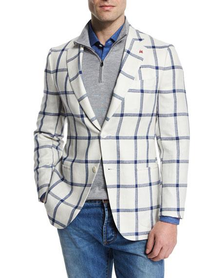 Isaia Windowpane Two-Button Silk-Blend Jacket, White/Blue