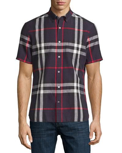 Linen-Blend Exploded Check Short-Sleeve Shirt, Navy