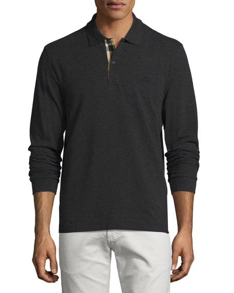 Long-Sleeve Oxford Polo Shirt, Charcoal Melange