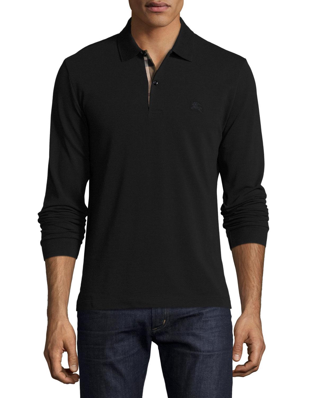 Burberry Long-Sleeve Oxford Polo Shirt, Black | Neiman Marcus