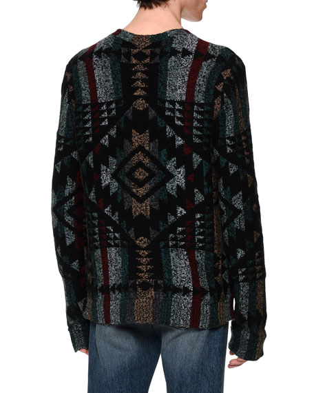 Tribal Intarsia Crewneck Sweater