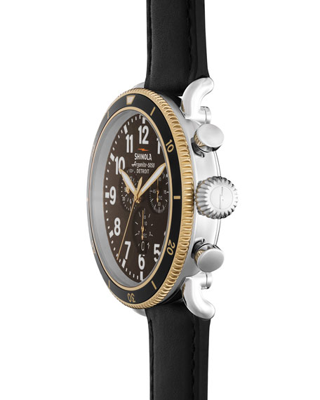 47mm Runwell Sport Chronograph Watch with Black Strap