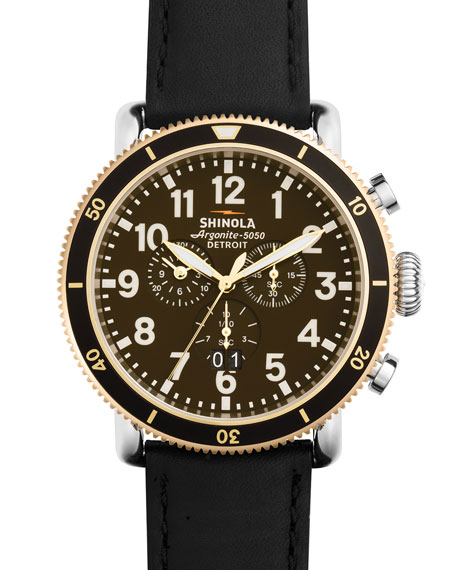 Men's 47mm Runwell Sport Chronograph Watch with Black Strap