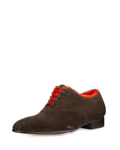 Gris Warhol-Inspired Suede Oxford with Shearling Lining, Brown