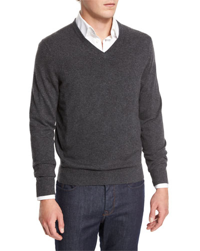Cashmere V-Neck Sweater, Derby Gray