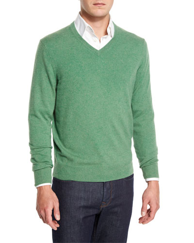 Cashmere V-Neck Sweater, Grass