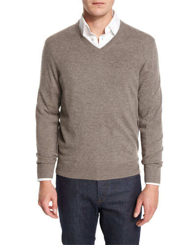 Cashmere V-Neck Sweater, Ash