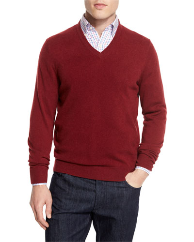 Cashmere V-Neck Sweater, Claret