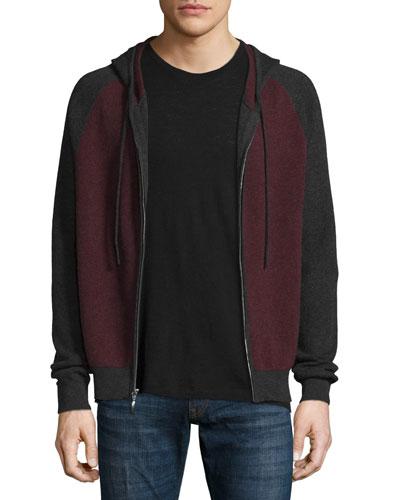 Cashmere-Cotton Colorblock Front-Zip Hoodie, Claret/Derby Gray