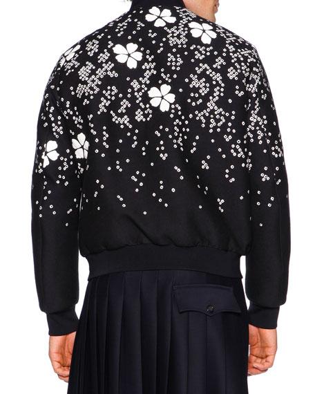 Dsquared embroidered cherry blossom bomber jacket black