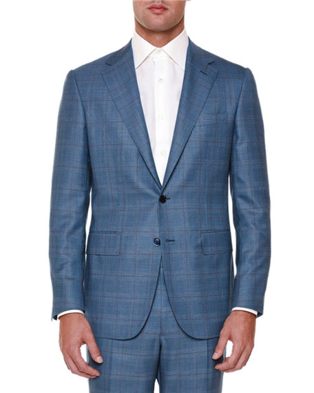 Windowpane Two-Piece Wool Suit, Blue/Red