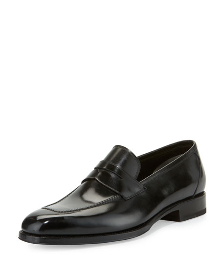 TOM FORD Wessex Leather Penny Loafer, Black