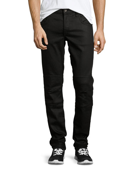 Rag & Bone Coated Five-Pocket Moto Jeans, Black