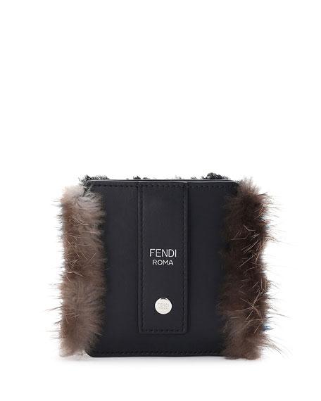 Monster T-Shirtth Fur-Trim Luggage Tag w/Pouch, Black/Blue