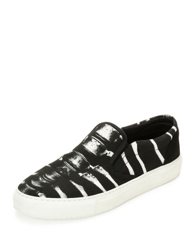 Villarrica Printed Slip-On Skate Sneaker, Black/White