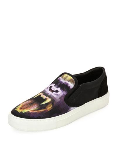 Liullaillaco Gorilla-Print Slip-On Sneaker, Black/Purple