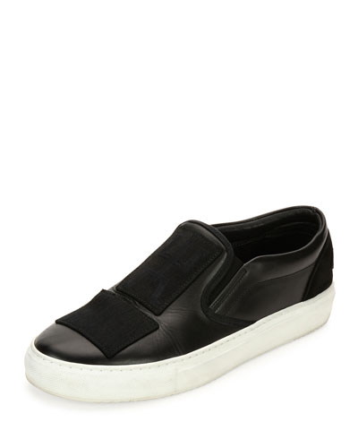 Patches Leather Slip-On Sneaker, Black