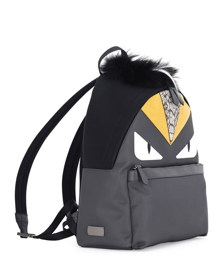 Monster Backpack w/Watersnake & Fur Details, Gray