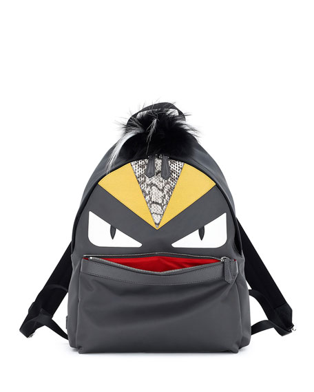 Fendi Monster Backpack w/Watersnake & Fur Details, Gray