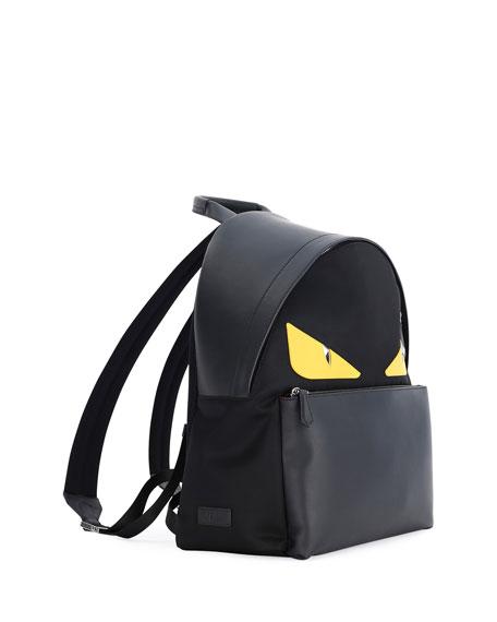 Monster Eyes Leather/Nylon Backpack