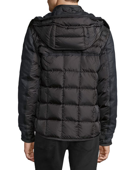 Blais Mixed-Media Puffer Jacket, Charcoal