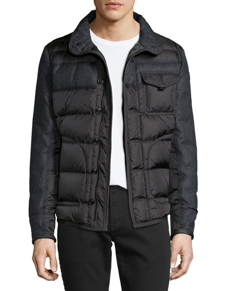 Moncler Blais Mixed-Media Puffer Jacket, Charcoal