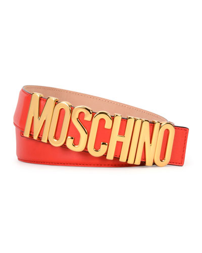Large Logo Adjustable Leather Belt, Red/Gold