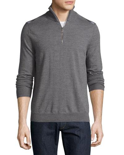 Merino Wool 1/2-Zip Sweater w/Check Shoulders, Mid-Gray Melange