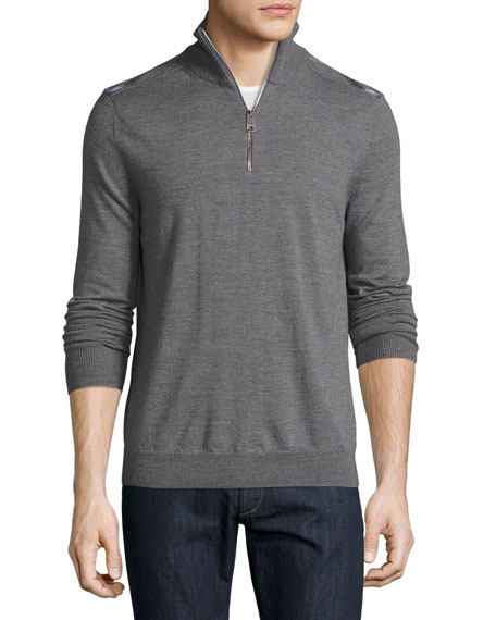 Burberry Merino Wool 1/2-Zip Sweater w/Check Shoulders, Mid-Gray