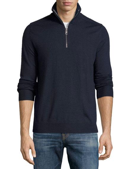 Burberry Merino Wool 1/2-Zip Sweater w/Check Shoulders, Navy