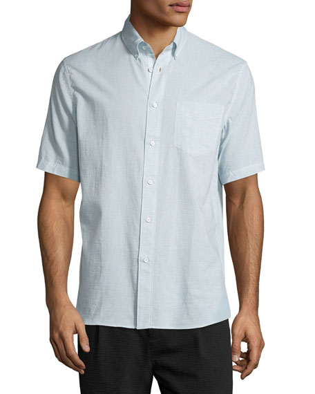 Micro-Stripe Organic Cotton Oxford Shirt