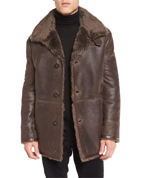 Vince Leather Shearling-Lined Coat, Brown